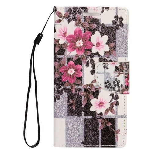 Insten Flowers Flip Leather Case w/stand/card slot For Samsung Galaxy S7 Edge, Black/White