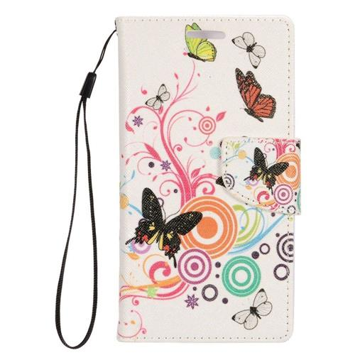 Insten Butterfly Leather Case Lanyard w/stand/card slot For Samsung Galaxy S7 Edge, Pink/White