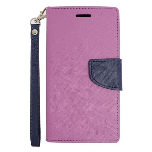 Insten Leather Fabric Case Lanyard w/stand/card holder For Samsung Galaxy Note 5, Purple/Blue