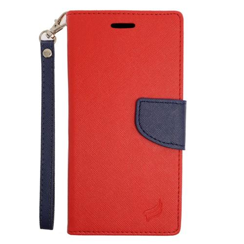 Insten Flip Leather Fabric Case Lanyard w/stand/card holder For Samsung Galaxy Note 5, Red/Blue