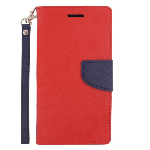 Insten Flip Leather Fabric Cover Case Lanyard w/stand/card slot For LG G4, Red/Blue