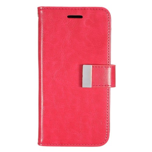 Insten Folio Leather Fabric Cover Case w/card slot/Photo Display For LG G5, Hot Pink