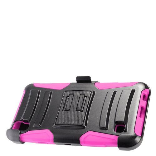 Insten Hard Dual Layer Plastic Silicone Case w/Holster For LG Tribute HD/X STYLE, Black/Hot Pink
