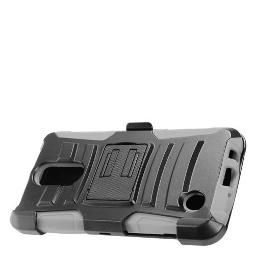 Insten Hard Dual Layer Plastic Silicone Case w/Holster For LG Aristo, Black/Gray