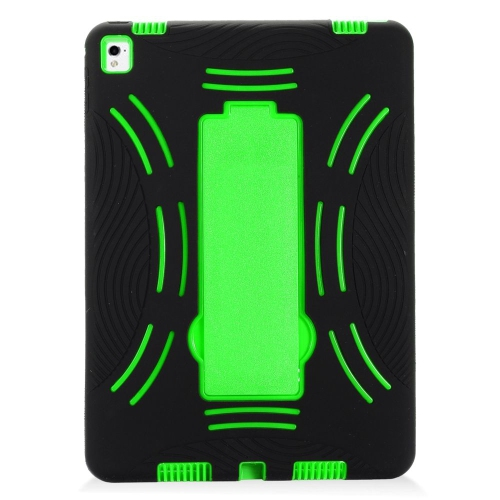 "Insten Symbiosis Rubber Hybrid Hard Case w/stand For Apple iPad Pro 9.7"", Black/Green"