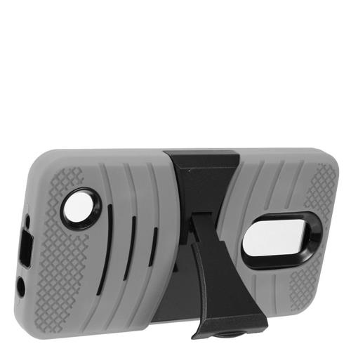 Insten Wave Symbiosis Skin Hybrid Rubber Hard Cover Case w/stand For LG Aristo, Gray/Black