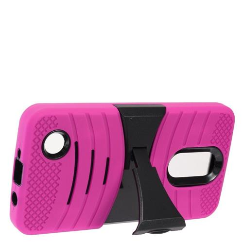 Insten Wave Symbiosis Skin Hybrid Rubber Hard Cover Case w/stand For LG Aristo, Hot Pink/Black
