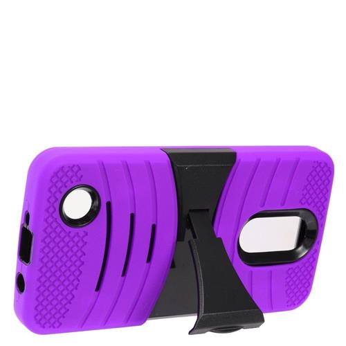 Insten Wave Symbiosis Silicone Hybrid Rubber Hard Cover Case w/stand For LG Aristo, Purple/Black