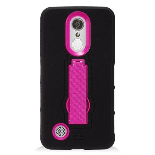 Insten Symbiosis Skin Hybrid Rubber Hard Case w/stand For LG Aristo, Black/Hot Pink