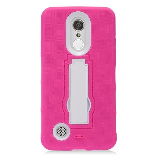 Insten Symbiosis Skin Hybrid Rubber Hard Cover Case w/stand For LG Aristo, Hot Pink/White