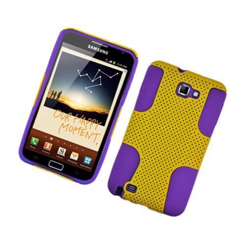 Insten Mesh Hard Dual Layer TPU Case For Samsung Galaxy Note LTE, Yellow/Purple