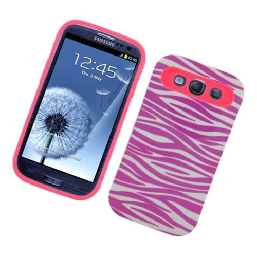 Insten Night Glow Zebra Hard Jelly Silicone Cover Case For Samsung Galaxy S3, Hot Pink/White
