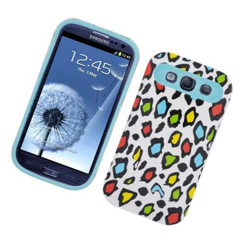 Insten Night Glow Leopard Hard Jelly Silicone Cover Case For Samsung Galaxy S3, Colorful/Blue