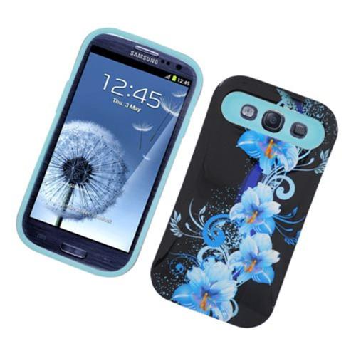 Insten Night Glow Flowers Hard Jelly Silicone Case For Samsung Galaxy S3, Black/Blue