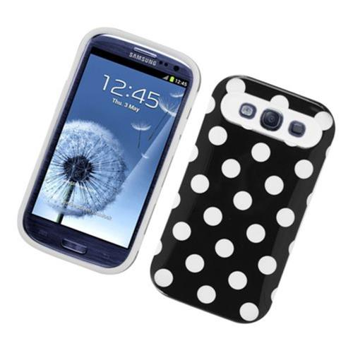 Insten Night Glow Polka Dots Hard Jelly Silicone Case For Samsung Galaxy S3, Black/White