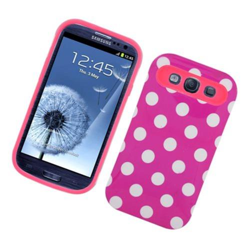Insten Night Glow Polka Dots Hard Jelly Silicone Case For Samsung Galaxy S3, Hot Pink