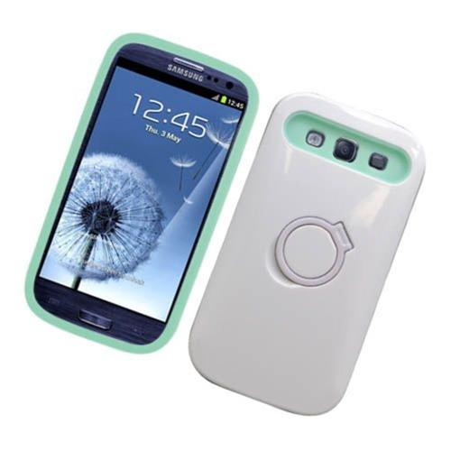 Insten Night Glow Hard Jelly Silicone Case w/Ring stand For Samsung Galaxy S3, White/Mint Green