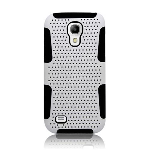 Insten Mesh Hard Dual Layer TPU Cover Case For Samsung Galaxy S4 Mini, White/Black