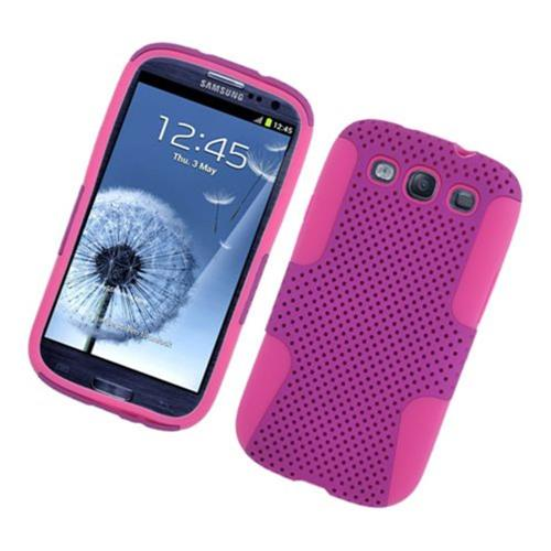 Insten Mesh Hard Hybrid TPU Cover Case For Samsung Galaxy S3, Purple/Hot Pink