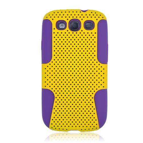 Insten Mesh Hard Dual Layer TPU Case For Samsung Galaxy S3, Yellow/Purple