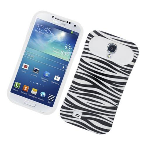 Insten Night Glow Zebra Hard Jelly Silicone Case For Samsung Galaxy S4, Black/White
