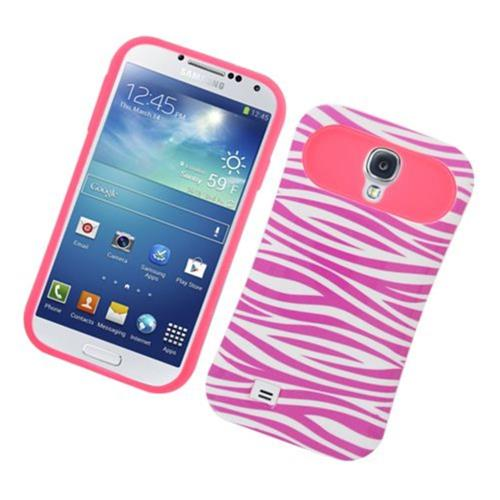 Insten Night Glow Zebra Hard Jelly Silicone Cover Case For Samsung Galaxy S4, Hot Pink/White