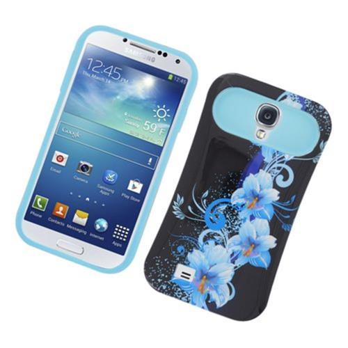 Insten Night Glow Flowers Hard Jelly Silicone Case For Samsung Galaxy S4, Black/Blue