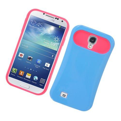 Insten Night Glow Hard Jelly Silicone Cover Case For Samsung Galaxy S4, Blue/Hot Pink