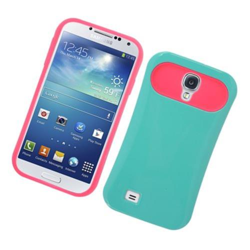 Insten Night Glow Hard Jelly Silicone Case For Samsung Galaxy S4, Green/Hot Pink
