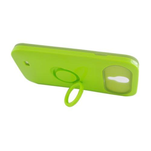 Insten Night Glow Hard Jelly Silicone Case w/Ring stand For Samsung Galaxy S4, Neon Green