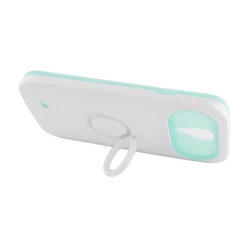Insten Night Glow Hard Jelly Silicone Case w/Ring stand For Samsung Galaxy S4, White/Mint Green