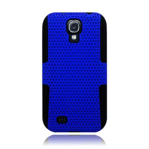Insten Mesh Hard Dual Layer TPU Case For Samsung Galaxy S4, Blue/Black