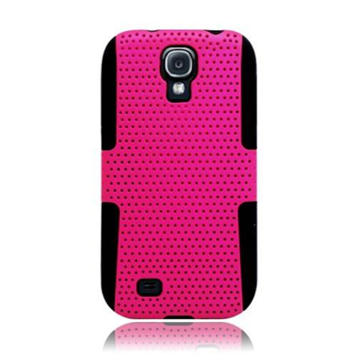 Insten Mesh Hard Hybrid TPU Cover Case For Samsung Galaxy S4, Hot Pink/Black