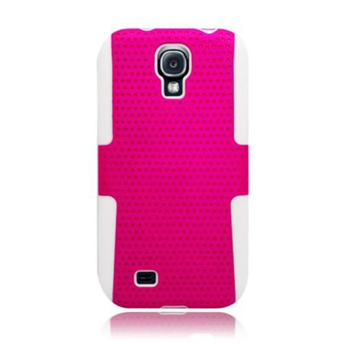 Insten Mesh Hard Hybrid TPU Cover Case For Samsung Galaxy S4, Hot Pink/White