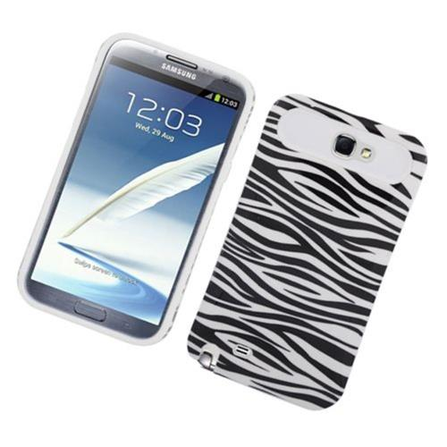 Insten Night Glow Zebra Hard Jelly Silicone Cover Case For Samsung Galaxy Note II, Black/White