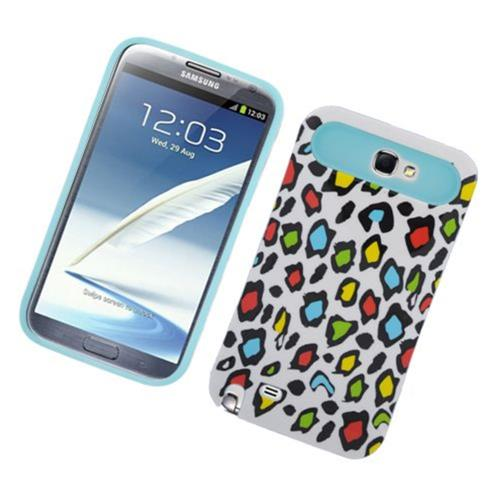 Insten Night Glow Leopard Hard Jelly Silicone Cover Case For Samsung Galaxy Note II, Colorful/Blue