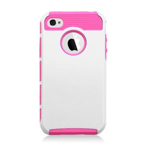 Insten Hard Hybrid Plastic TPU Cover Case For Apple iPhone 4/4S, White/Hot Pink
