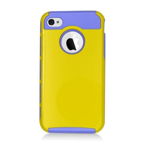 Insten Hard Dual Layer Plastic TPU Case For Apple iPhone 4/4S, Yellow/Purple