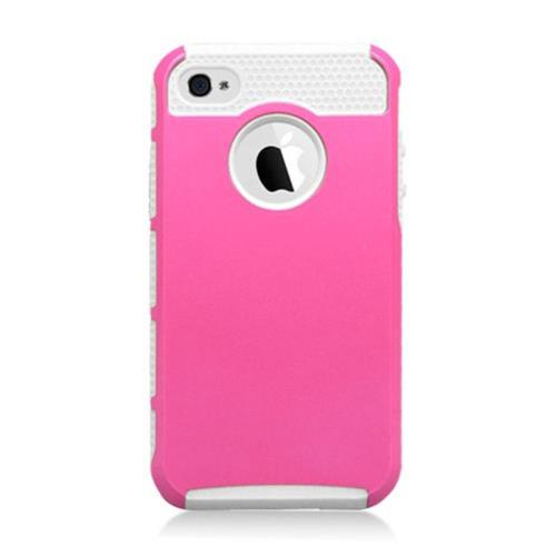 Insten Hard Hybrid Plastic TPU Case For Apple iPhone 4/4S, Hot Pink/White
