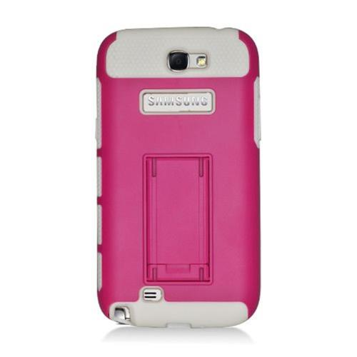 Insten Hard Dual Layer Plastic TPU Cover Case w/stand For Samsung Galaxy Note II, Hot Pink/White