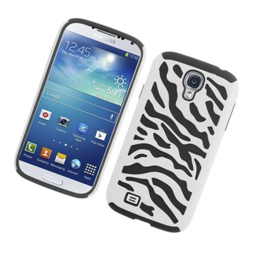 Insten Zebra Hard Hybrid Silicone Cover Case For Samsung Galaxy S4, White/Black