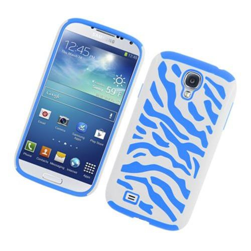 Insten Zebra Hard Hybrid Rubber Coated Silicone Case For Samsung Galaxy S4, White/Blue
