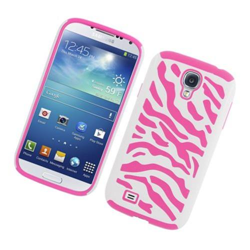 Insten Zebra Hard Dual Layer Rubber Silicone Case For Samsung Galaxy S4, White/Pink