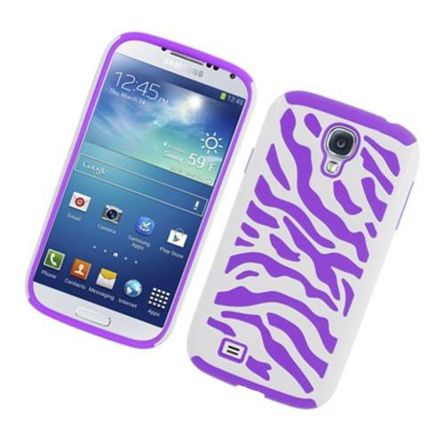 Insten Zebra Hard Hybrid Rubber Coated Silicone Cover Case For Samsung Galaxy S4, White/Purple