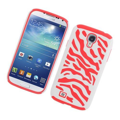Insten Zebra Hard Hybrid Rubber Coated Silicone Cover Case For Samsung Galaxy S4, White/Red
