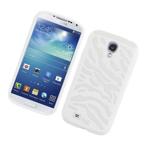 Insten Zebra Hard Hybrid Rubber Coated Silicone Case For Samsung Galaxy S4, White