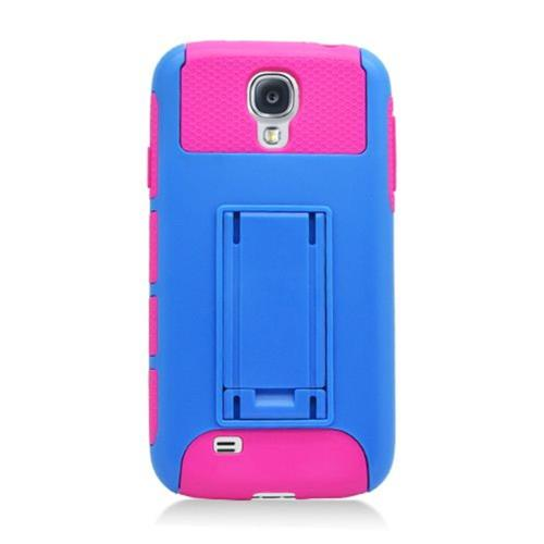 Insten Nest Hard Hybrid TPU Cover Case For Samsung Galaxy S4, Blue/Hot Pink