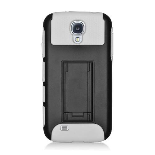 Insten Hard Dual Layer Plastic TPU Cover Case w/stand For Samsung Galaxy S4, Black/White