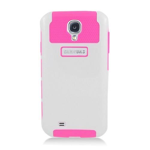 Insten Nest Hard Hybrid TPU Case For Samsung Galaxy S4, White/Hot Pink