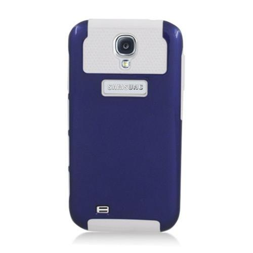 Insten Nest Hard Dual Layer TPU Cover Case For Samsung Galaxy S4, Dark Blue/White